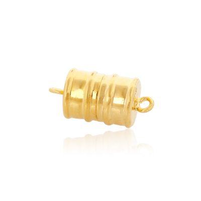 14K Gold Plated 8/10mm Barrel Magnet Clasp