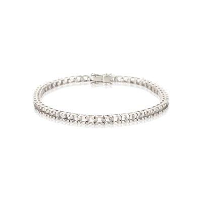 18KW Square Tennis Bracelet 18cm long for 8pt round stones