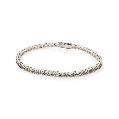 18KW Square LW Tennis Bracelet 18cm long for 2pt round stones
