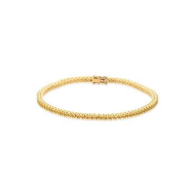 18KY Square setting Tennis Bracelet 18cm long for 2pt round stones