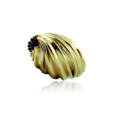 14K  Gold white twisted corrugated bead #8148 074BOT15400000