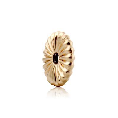 14K  Gold yellow 6.5x1.5mm corrugated flattened bead 064BFS14000000