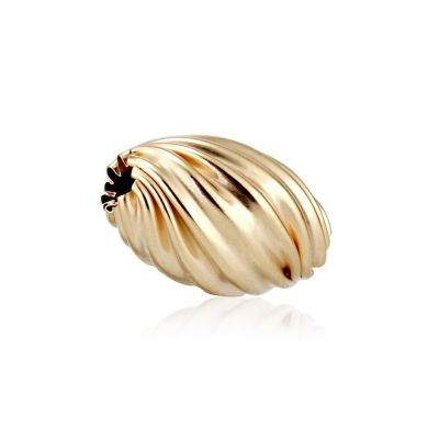 14K  Gold yellow twisted corrugated bead #8148 064BOT15400000