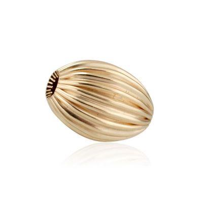 9K Yellow Gold  Oval Corrugated Bead 5x8.5mm #8148 061BOT12400000