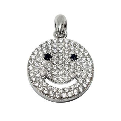 Sterling Silver C'z Smiley Face Pendant