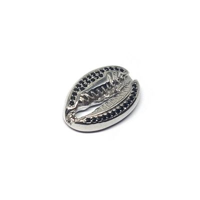 Sterling Silver Black C'z Conch Pendant
