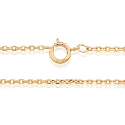 "14K Yellow Gold 1.24mm Daimond Cut Rolo Chain 16.5"" (42cm)"