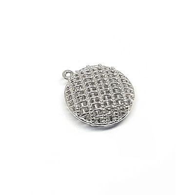 Sterling Silver Swollen Criss-Cross Round Pendant