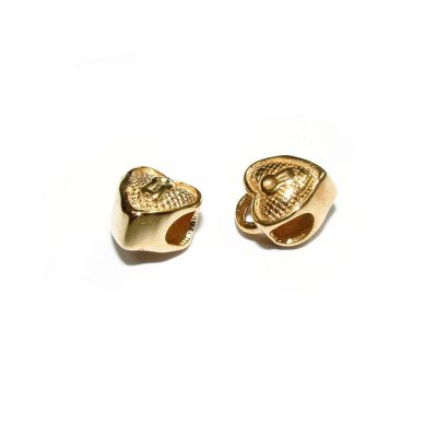 14K Gold Plated Heart Bead Charm