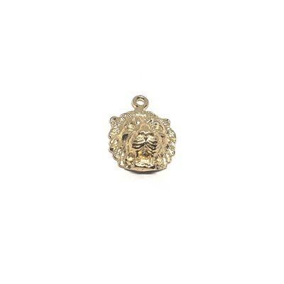 14K Gold Plated Lion Face Pendant