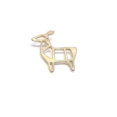 14K Gold Plated Geometric Deer Pendant