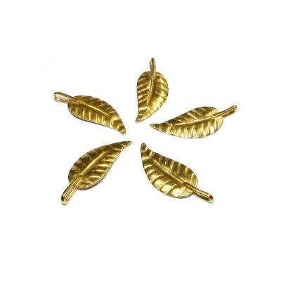 14K Gold Plated Long Leaf Pendant