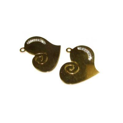 14K Gold Plated  C'z Heart Pendant