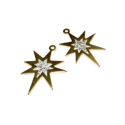 14K Gold Plated  C'z Star Pendant