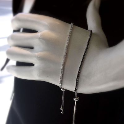 Sterling Silver tie tennis bracelet set up with Black or White Stones