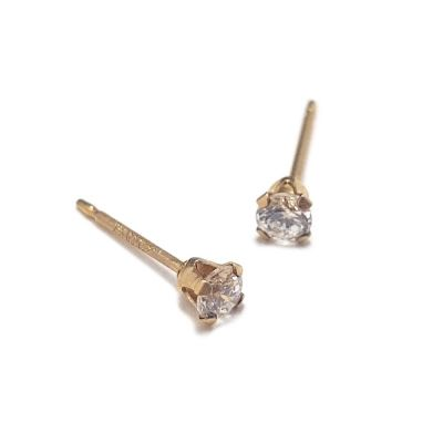 Gold Filled 4mm Buttercup Earring With Stone