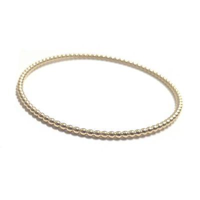 14K Yellow Gold 2.5mm Beaded Bangle Bracelet