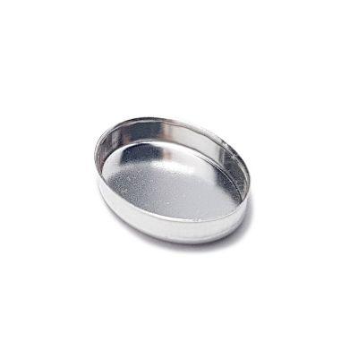Sterling Silver Oval Flat Bezel Cup 10X14mm