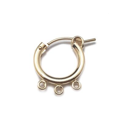 10mm Gold Filled Tube Hoop Earring W/3 Loops
