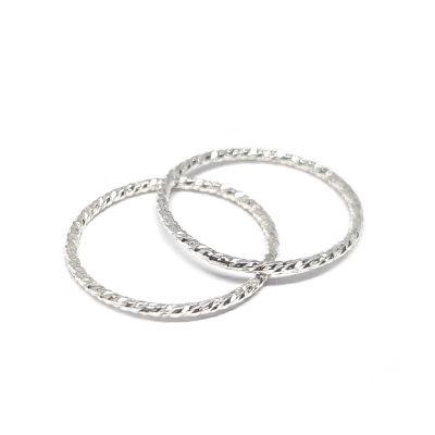 Sterling Silver 1.2/15mm Diamond Cut Ring