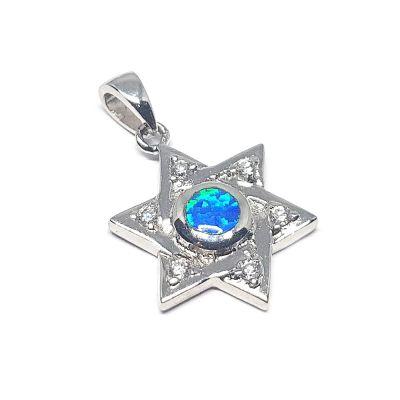 Sterling Silver Star Of David W/Blue Stone Pendant