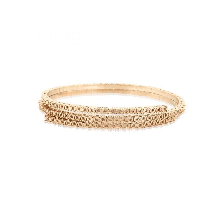 18KW Double Spring Tennis Bracelet 3pt round stones